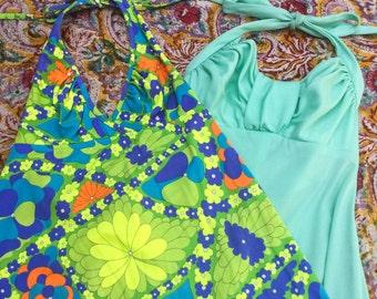 Vintage Halter Dress Dresses// Wholesale Lot // Lot of 2// Maxi Dress Dresses// XS S// Disco// Bohemian// 60s 70s// Swimsuit cover up
