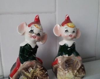 Vintage Pixie Elf Figurines Salt And Pepper Set Of 2