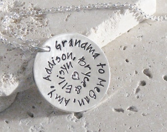 Spiral of Love   Round and Round   Personalized Hand Stamped Name   Mommy Jewelry Grandma   Handmade Sterling Silver   Christina Guenther