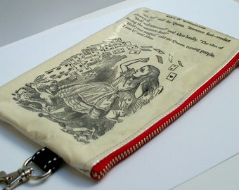 Book Purse Upcycled Alice in Wonderland with Deck of Cards Repurposed into a sweet little purse with key ring clasp