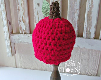Crochet Baby Apple Hat, Red Apple Hat, Fall Photo Props, Autumn Fall Baby Hat, Crochet Fall Hat Apple Baby Shower Gift