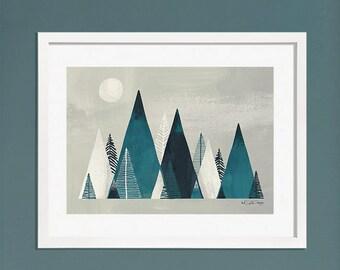 Mountain Digital Art Print / Mountain Scape / Mountain Range Illustration / Digital Wall Art / A4 Art Print / Fathers Day Gift