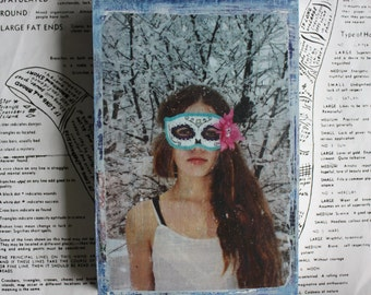 Unique Fine Art, Original Miniature Art, Photography, Snow Covered Trees, Day of the Dead, Mask, Portrait of a Girl, 4 x 6