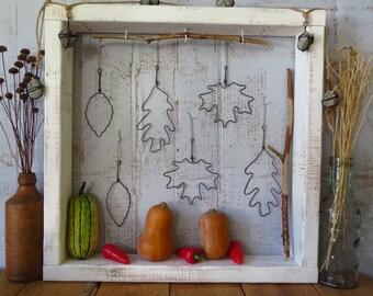 Wire, Leaf, Ornaments, Set Of Six, Fall, Home Decor