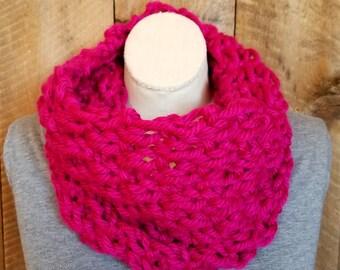 Fushia Knit Cowl, Bohemian Fashion, Moss Stitch, Winter Scarf, Knit Scarf, Pink Cowl, Hand Knit Cowl, Boho Chic, Chunky Knit, bailybelle