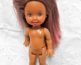 "Princess Kelly & Friends 4"" Doll Dark Brown and Pink Hair Darker Skin - #311"
