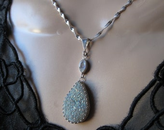 Titanium Druzy Necklace with Moonstone in Silver- Metalwork