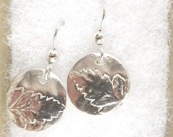 Sterling fern leaf earrings, botanical jewelry, leaf replicas, woodland jewelry, forest gift, fern frond, gift under 30 USD