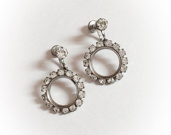 Vintage Rhinestone Hoop Dangle Earrings Screw Backs