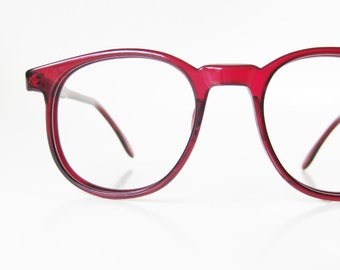 1960s Red Round Eyeglasses Womens Glasses P3 Eyeglass Frames Cranberry Ruby Crimson Blood 60s Deadstock Geek Chic Nerdy Sixties
