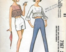 McCalls 7167 1960s Rockabilly Ruffled Midriff Top Shorts and Pants Vintage Sewing Pattern Size 16 Bust 36