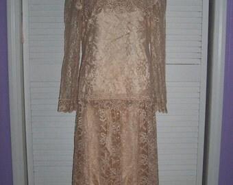 Victorian Style 2 Pc  Lawn Dress Outfit Sz 7\/8 Vintage 70s