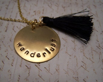Wanderlust Necklace with Navy Tassel. Bohemian. Long Necklace