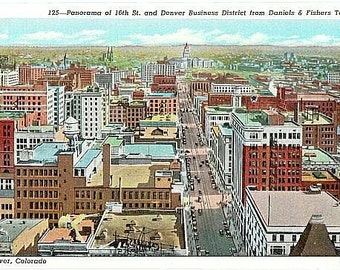 Vintage Colorado Postcard - Downtown Denver from the Daniels and Fisher Tower (Unused)