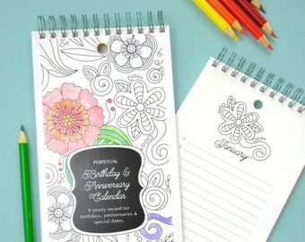 Coloring Book Flowers Birthday and Anniversary Calendar