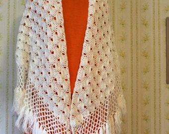 Vintage Hand Crocheted White Shawl, Cape, Evening Wrap