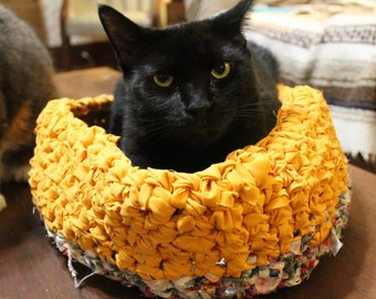 "The ""Pookie,"" NEW Medium Cat Bed, Small Dog Bed, Hand Crocheted From Upcycled Bed Sheets"