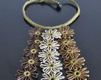 Little Daisy - Chocolate - Handmade Loom Daisy Bib Necklace