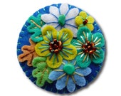 FB116 -  Japanese Art Inspired Handmade Mini Felt Brooch - Royal Blue - Made to order