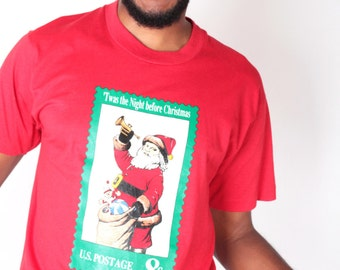 Vintage Sweater // Santa Postage Stamp Tacky Tee Shirt Jumper // UGLY CHRISTMAS SWEATER (sz M)