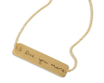 Custom Handwriting Jewelry - Gold Bar Necklace - Horizontal Gold Filled Bar Necklace - Signature Gold Memorial Necklace - up to 15 letters