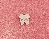 Tooth Enamel Pin - Cute Tooth Pin - Sweet Tooth Pin - Dentist Gift - Tooth Fairy Gift - Dental Hygienist Gift - Kawaii Pins