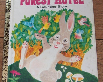 vintage 70s Little Golden Book  FOREST HOTEL picture book children dog boy girl counting book