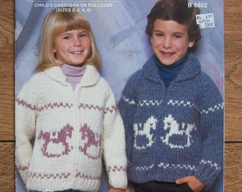 Vintage White Buffalo Knitting pattern 6602 Boys Girls CARDIGAN or PULLOVER sz 2-4-6-8 Rocking Horses