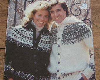 WHITE BUFFALO knitting pattern 2101 ELENA yarn Mens or Ladies Cardigan sz 36-48 in.