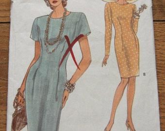 vintage 1992 vogue pattern 8245 misses DRESS slightly tapered semi fitted front back tucks sz 18-20-22 uncut