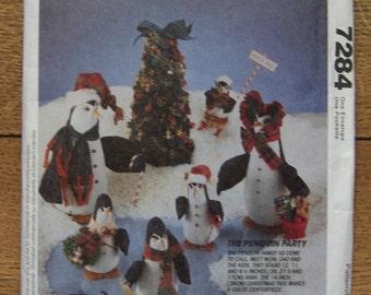 "vintage 1994 McCalls pattern 7284 Christmas decor winter seasonal penguins 12"", 11"" and 6 1/2"" tall /tree 14"" tall uncut"