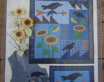 Applique Wallhanging Sewing pattern Crows and Sunflowers uncut
