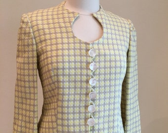 1960s Ladies Suit - Skirt and Jacket Set - Classic Traditional - Custom Made Suit - Gray and Yellow Pomezia Fabric - 36 37 Bust