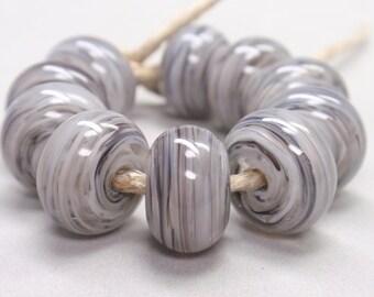 Bigger Grey Granite Swirls  - 10 Handmade Lampwork Beads SW 152