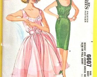 Uncut McCall's 6607 1960s  Misses' Dress Slim or Full Skirt shirred bodice  gore slim or gathered skirt Vintage Sewing Pattern Bust 34