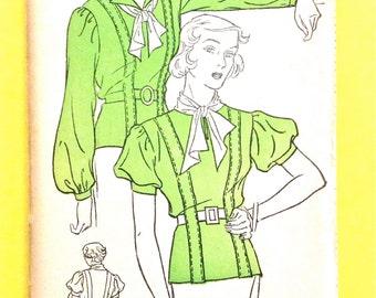 Unused 1930s Blouse Top Shirt Women's Misses'  Pattern New York 519 Revers, Slashed Openings Set-In Sleeves Vintage Sewing Pattern