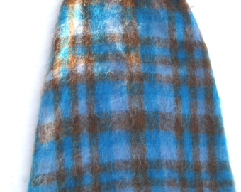 SOFT MOHAIR SKIRT in a Sky Blue and Chocolate Plaid on Sale