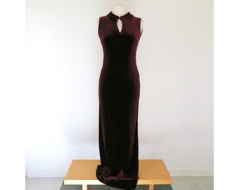 MERLOT // 90s burgundy velvet long dress / M L