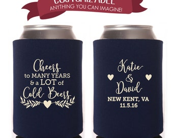 Cheers to Many Years & Cold Beers Cooler Favors Wedding Party Gifts Wedding Anniversary Party Gifts Custom Beverage Can Cooler 2D169