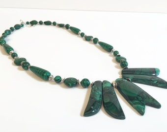 Christmas in July Sale Big Bold Chunky Necklace, Green Gemstone Necklace Earring Set