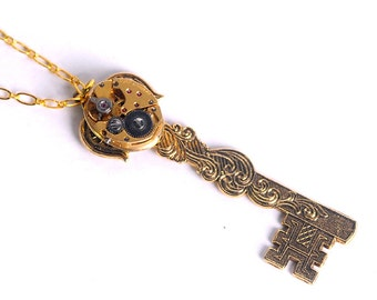 Steampunk Vintage Yellow Gold Watch n Key Necklace