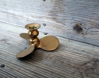 Adorable Brass Fan Blade Candle Holder