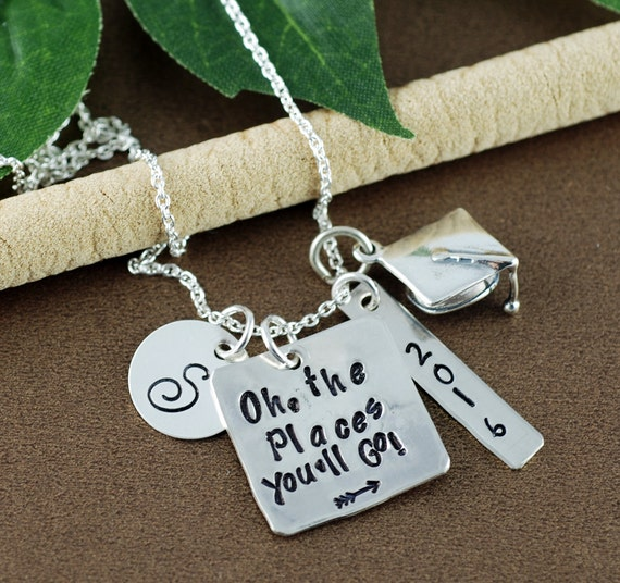 Personalized Oh the Places You'll Go Graduation Necklace   High School Graduation Gift Necklace   Hand Stamped Necklace   Gift for Graduate