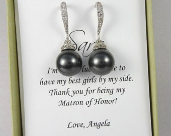 Black Pearl Bridesmaid Earrings, Swarovski Black Pearl Earrings, Black Wedding Earrings, Bridesmaid Gift Earrings, Wedding Earrings