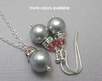 Light Grey and Pink Necklace, Pink Earrings, Maid of Honor Gift Jewelry Set, Grey Pearl Jewelry, Bridesmaid Gift, Bridesmaid Jewelry Set