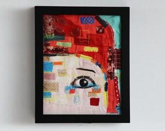 Crying Girl Original Mixed Media embroidery Illustration