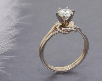 Forever Brilliant Moissanite engagement ring, double love knot ring, solid 14k gold ring