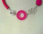 Contemporary necklace, Wire necklace, Fuchsia choker, modern jewelry, Funky necklace - Fuchsia necklace, aluminium wire necklace,