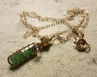 Green Tourmaline Necklace, Green Tourmaline Pendant, Gold Filled Wire Wrapped Necklace, Raw Pakistani Tourmaline Crystal, Minimalist Jewelry