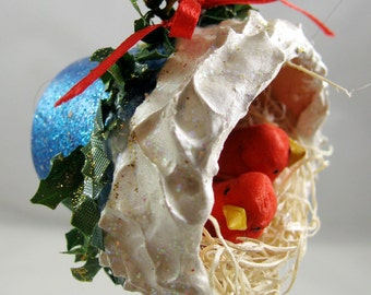 Christmas Birds Nesting in a Flower Pot Ornament 104
